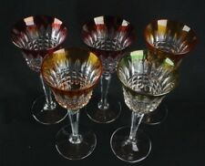 Set of 5 Vintage Cut to Clear Crystal Wine Goblets Red Green & Gold