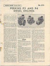 PERKINS P3 et P4 diesel moteur trader service data n ° 275 1957