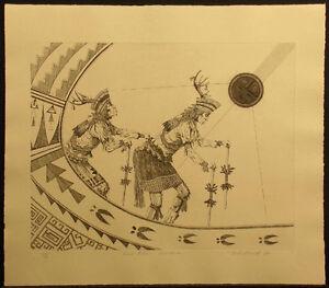 """Neil David Sr. """"Tewa Deer Dancers"""" Hand Signed & Numbered Art Etching MAKE OFFER"""