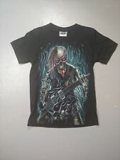 The Roxx Double Sided Tshirt Rock And Roll Skeleton Guitar Skull sz small flames