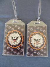 UNITED STATES NAVY LUGGAGE TAGS SET OF 2 - NAVY EAGLE CREST - NAME ADDRESS ID