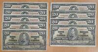 1937 $20 Canada Bank Note Gordon-Towers Prefix E/E - Circulated