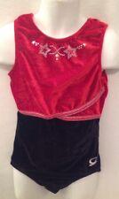 GK ELITE Red Black Velour CL Large Leotard Stars Studs Gymnastics Dance Sparkly