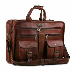 """New Men's 18"""" Briefcase Brown Vintage Leather Shoulder Satchel Laptop UNISEX Bag"""