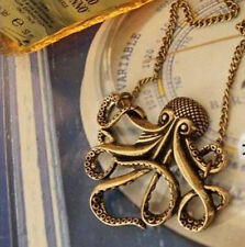 Collier sautoir poulpe pieuvre calamar pirate marin mer océan cuivré vieilli