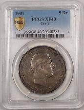 1901 Crete 5 Dr Five Drachma Silver Coin ANACS XF-40