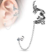Flying Dragon Design Ear Cuff with Chain Linked Clear CZ Set Stud Ear Rings 22g
