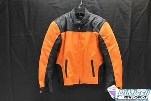 NEW 2XL ORANGE WATERPROOF POLYESTER ARMOR MOTORCYCLE JACKET *JACKET RUN SMALL