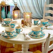 COASTAL COTTAGE 3-D ACCENTED 16-PC EARTHENWARE DINNERWARE SET PLATES BOWLS MUGS+