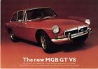 MG MGB GT V8 1973 UK Market Launch Single Sheet Sales Brochure