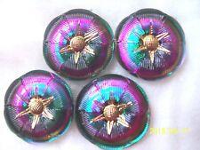 CZECH GLASS BUTTONS (4PCS) VITRAIL GREEN / 24K GOLD   (22mm)  **  M 010