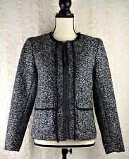 Christopher & Banks Women's Tweed Blazer Jacket Coat Black Gray Size S Invo: H48