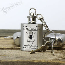 Fathers Day Engraved Personalised Silver Mini Hip Flask Keyring Gift for Dad