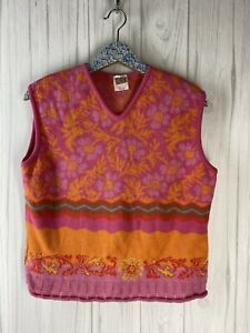 OILILY Vtg Size XL Pink Orange Sleeveless Sweater Tank V Neck Knit Made in Italy