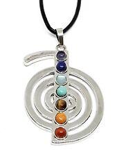 Cho Ku Rei Silver Leather Cord Necklace Gemstone Healing Reiki Yoga Pendant