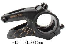 ZOOM MTB Road FR XC DH Bike bar Short Stem -12° handlebar stems 28.6*31.8*40mm