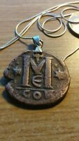 """Constantinople Byzantine Follis Bronze Coin Pendant on a 28"""" Italy Snake Chain."""