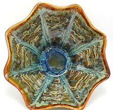 "Studio Art Pottery Bowl Centerpiece Fluted Drip Glaze Brown Green Signed 14"""