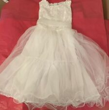 LITTLE Girls White Tulle Lace Formal Communion / Bridal Dress ~ Size 13.0