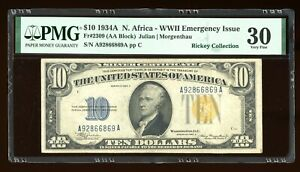 DBR 1934-A $10 North Africa Silver Fr. 2309 PMG 30 Serial A92866869A