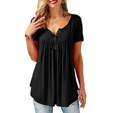 UK Womens Casual Short Sleeve Shirt Blouse Ladies Loose T-shirt Tops Plus Size