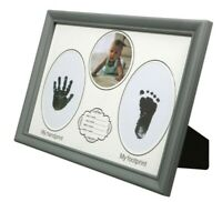 "Baby's First Photo Picture Frame Handprint and Footprint 12 x 8.5 "" inch Silver"