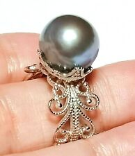 Peacock Natural Purple Blue 11.5mm Edison Cultured Round Pearl Ring Adj Size 6-8
