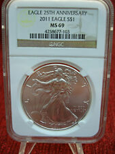 2011  U.S. SILVER EAGLE NGC MS69 .- FROSTY SURFACES - NICE