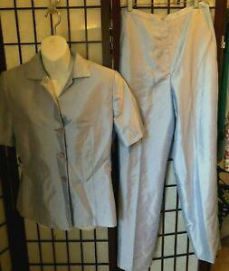 Levine Classics Larry Levine 2 Pc. Pant Suit Sz 10 Baby blue Business