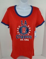 NBA Los Angeles Clippers Women's Baby Jersey Ringer Soft Tee T-Shirt, Red L