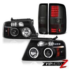 "FORD 04-08 F150 Black ""ANGEL EYE"" Projector Headlights+LED Smoke Tail Light Lamp"