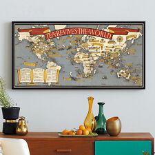 World Map Unframed Poster Tea Wall Canvas Silk Coffee Shop Home Office Decor A2
