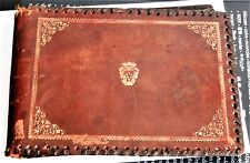 ANTIQUE BRITISH LEATHER POSTCARDS ALBUM WITH 30 POSTCARDS + 10 LOOSE POSTCARDS
