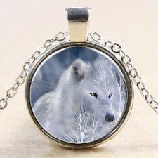 Vintage Wolf Cabochon Tibetan Silver Glass Chain snow Pendant Necklace