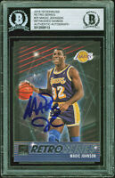 Lakers Magic Johnson Signed 2018 Donruss Retro #25 Card BAS Slabbed #12008113