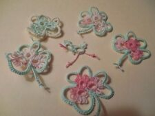 Tatted Shamrocks 5 Green Mint Pink Tatting Crazy Quilts Scrapbooks Cards