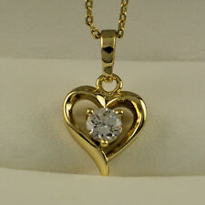 """Yellow Gold Filled Heart Clear Zirconia CZ Pendant 15.5"""" Chain Necklace UK -N39"""