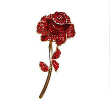 Elegant Red Rose Flower Shiny Crystal Rhinestones Brooch Pin Corsage BR124