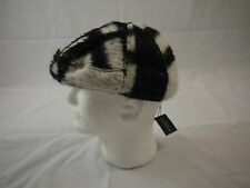 Burberry Prorsum Wool Blend Black White Plaid Beret M Made in Italy BNWT $495