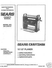 "Craftsman 12 1/2"" Planer Operators Manual No 351.233731"