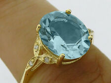 R099 Genuine Solid 9K Gold Large Natural Blue Topaz & Diamond Solitaire Ring szO