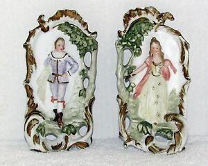 Vintage 2 porcelain Bisque Colonial Man & Woman Plaque Wall Hanging Ardco 3D