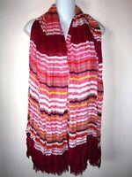 "TALBOTS SCARF PLEATED Shawl Stripes Fuchsia Pink White Green Viscose 70 x 37"""