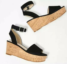 Marc Fisher Espadrille Wedge Sandals Size 8 Black Suede Shoes Leather Rillia