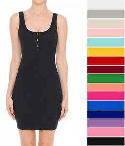 Womens Casual Henley Tank Dress Stretch Ribbed Cotton Knit Sleeveless Mini Basic