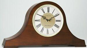 Wooden Westminster Chime Napoleon Quartz Mantel Clock Walnut Finish 07062