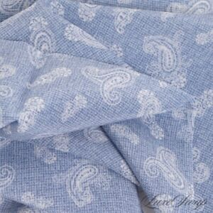 NWT Paolo Albizzati Made Italy Sky Blue Lightweight Static Paisley Pocket Square