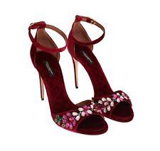 NEW $960 DOLCE & GABBANA Shoes Bordeaux Velvet Crystal Heels Pumps EU39 / US8.5