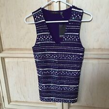 CYRUS EMBELLISHED BEADED SEQUIN V-NECK KNIT TOP SHELL - PURPLE - MEDIUM - *NWT*