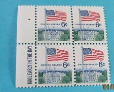 U.S. STAMP-[Block of 4]--U.S. FLAG & WHITE HOUSE--(1968)--Scott#1338--<unused>